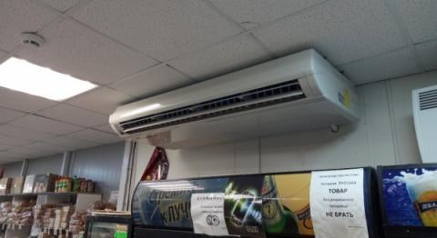 АтомИнжСервис: Монтаж кондиционера Gree в продуктовом магазине
